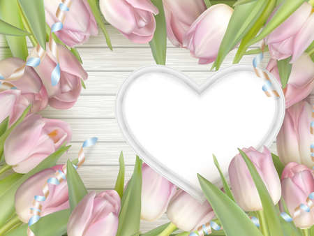 love hearts: Pink tulips and heart frame on white wooden board. Top view. vector file included