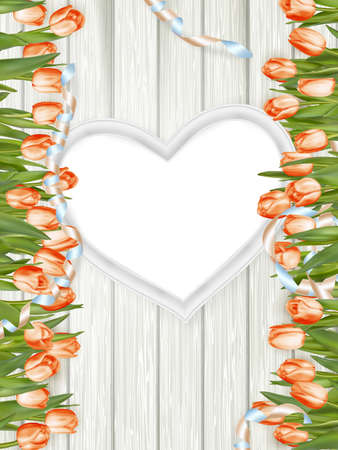 overhead: Fresh pink tulips and blank wooden heart shape frame.   vector file included Illustration