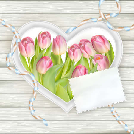 Heart frame with fresh tulips on white wooden background.  vector file included