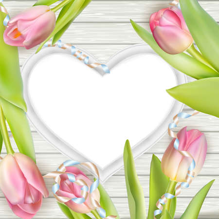 mother board: Greeting concept template. Beautiful tulips and heart shape frame. vector file included