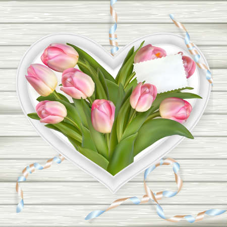 wedding bouquet: Pink tulips and heart frame on white wooden board. Top view.  vector file included