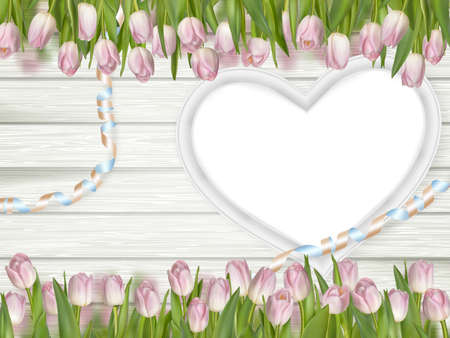 romantic picture: Tulips with blank white picture heart shape frame on a wooden background. Romantic picture.  vector file included Illustration