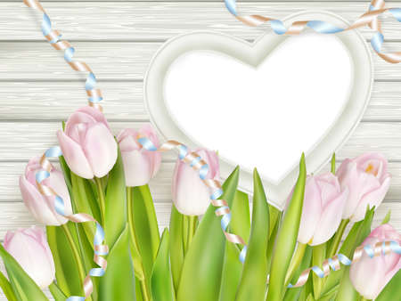 romantic picture: Tulips with blank white picture heart shape frame on a wooden background. Romantic picture.   vector file included
