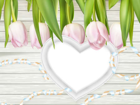 mother board: Tulips with blank white picture heart shape frame on a wooden background. Romantic picture.   vector file included