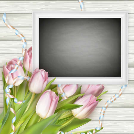 for: Festive composition with a bouquet of pink tulips, chalk board on wooden background. vector file included