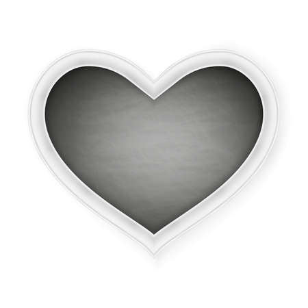 february 1: Black heart shape frame on a white background. Happy Valentines Day.  vector file included