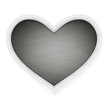 february 1: Black heart shape frame on a white background. Happy Valentines Day.   vector file included Illustration