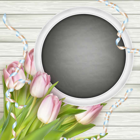 empty space for text: Festive composition with a bouquet of pink tulips, chalk board on wooden background.   vector file included