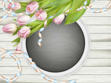wedding table decor: Pink tulips and chalkboard frame on the white wooden board. Top view.   vector file included