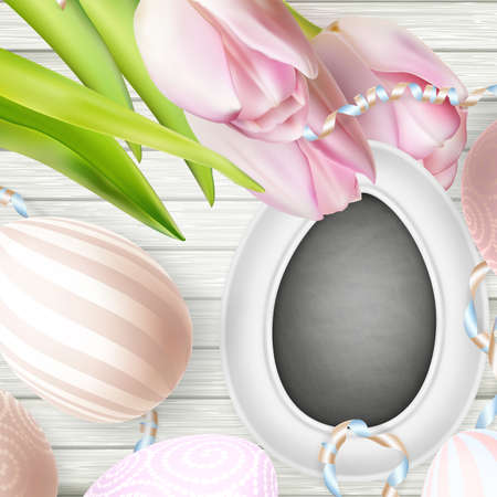 break free: Happy Holidays. Blackboard, tulips and decorative eggs.   vector file included Illustration
