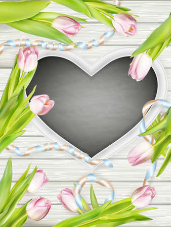 painted wood: Heart shaped frame with tulips on white wooden background.  vector file included