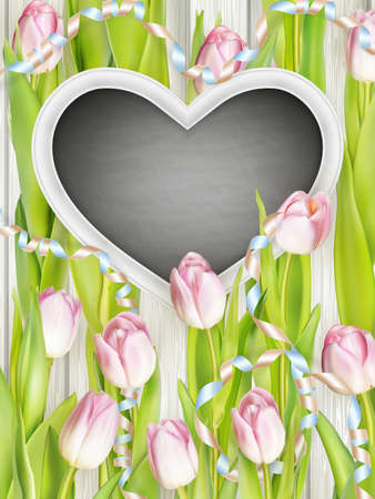 family holiday: Beautiful bouquet of flowers on wood background. Spring family holiday concept.  vector file included