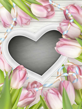 weathered wood: Heart shaped frame with tulips on white wooden background. vector file included