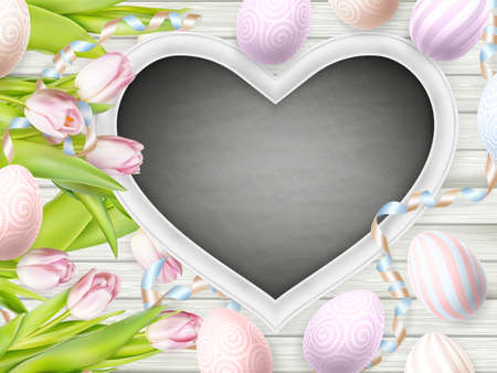 break free: Happy Holidays. Blackboard, tulips and decorative eggs.  vector file included