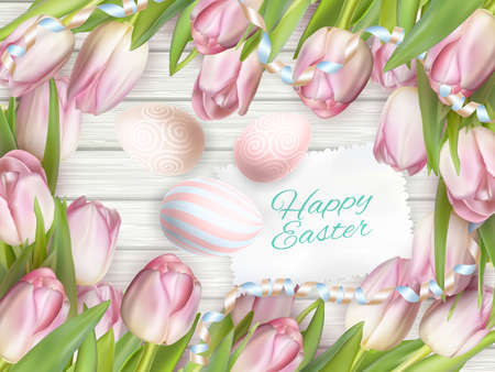 small group of object: Easter eggs painted in pastel colors on white wooden background. Easter concept.   vector file included