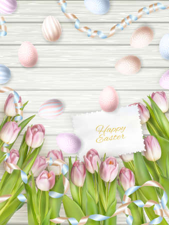 small group of object: Easter eggs on wooden table with card. Holiday background. EPS 10 vector file included Illustration