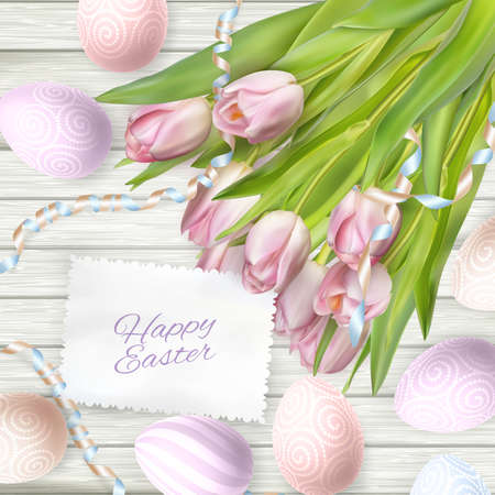vector eggs: Easter eggs on wood background with card. vector file included Illustration