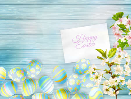 Happy easter Greeting Card. A lot of Easter eggs.