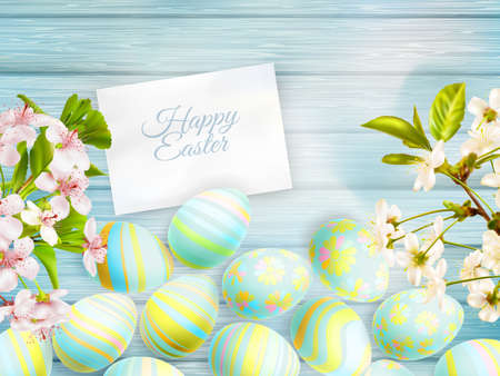 Easter card decorated with cherry blossom flowers.