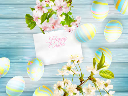 twigs: Easter background with cherry twigs, card and Easter decoration. Illustration