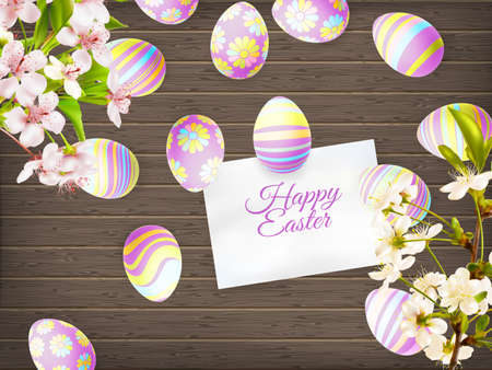 many coloured: Easter eggs in beautiful and different colors lie on wooden background. Illustration