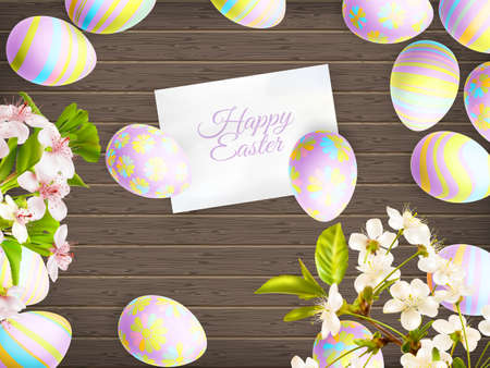 brown egg: Easter eggs in beautiful and different colors lie on wooden background. Illustration