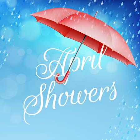 Umbrella in the rain. April showers. Illustration
