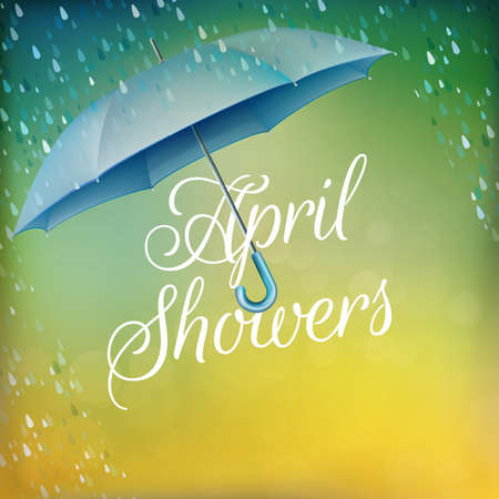 Umbrella in the rain. Vektoros illusztráció