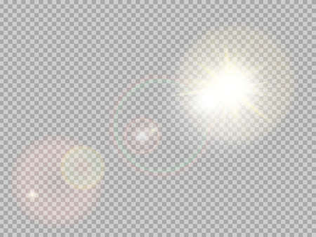 Transparent sunlight special lens flare light effect. Sun flash with rays and spotlight. Vettoriali
