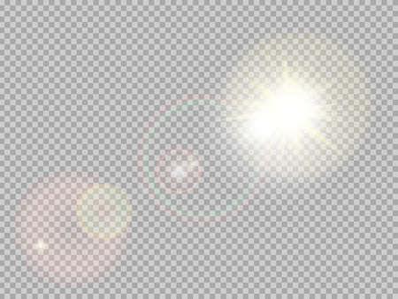 Transparente Sonnenlicht spezielle Lens Flare Lichteffekt. Sonne mit Strahlen und Scheinwerfer blinken.