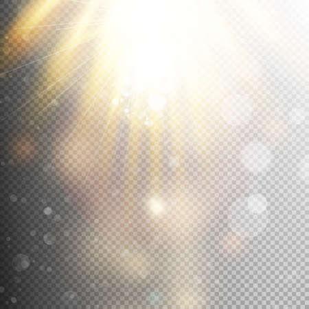 Yellow warm light effect, sun rays, beams on transparent background. Stock Illustratie