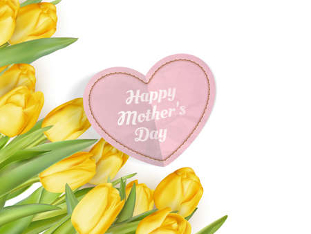 loveliness: Mothers Day Concept. Tulips with heart on white background. EPS 10 vector file included Illustration