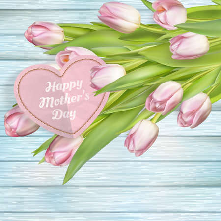 gratefulness: Mothers day card with tulips on wooden board. Illustration