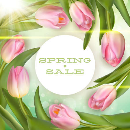 Spring sale Background with pink Flowers.