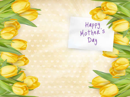 beautifully: Beautifully Textured Card with Tulips and Text Happy Mothers Day.