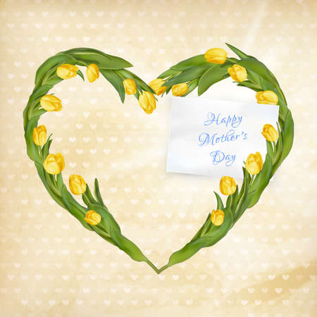 flower heart: Illustration for mother day in retro style.