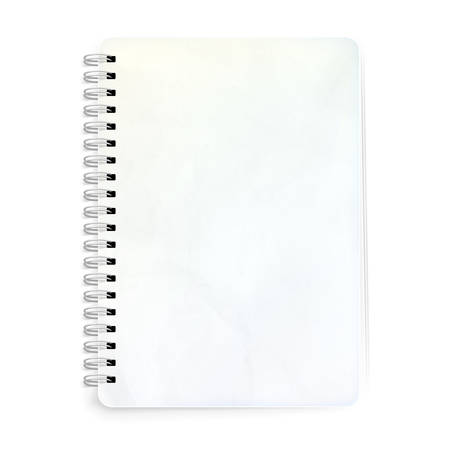 spiral book: Blank realistic spiral notepad notebook isolated on white.
