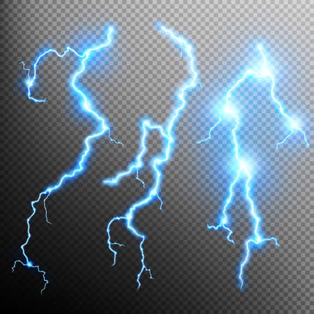 lightnings: Set of the isolated realistic lightnings with transparency for design. Natural effects. Magic and bright lighting effects. Thunder-storm and lightnings. Illustration