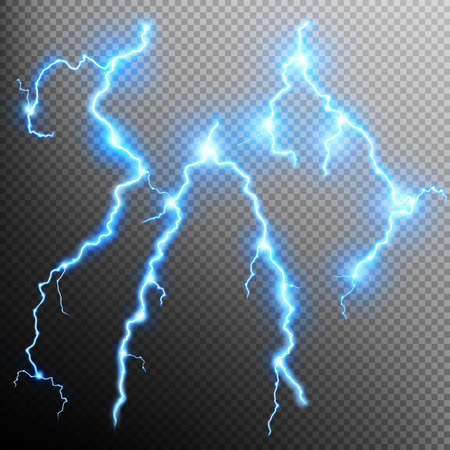 lightnings: Set of the isolated realistic lightnings with transparency for design. Thunder-storm and lightnings. Magic and bright lighting effects. Natural effects. Illustration