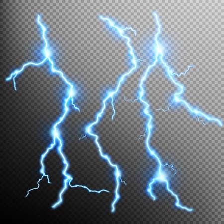lighting effects: Set of lightnings. Thunder-storm and lightnings. Magic and bright lighting effects
