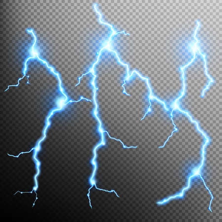 zapping: Set of the isolated realistic lightnings with transparency for design. Natural effects.