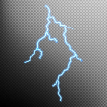 isolated: Isolated realistic lightning with transparency for design. Thunder-storm and lightning. Natural effects. EPS 10 vector file included Illustration