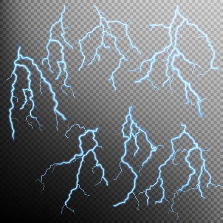 透明な背景に青い稲妻フラッシュ効果のセットです。含まれている EPS 10 ベクトル ファイル  イラスト・ベクター素材