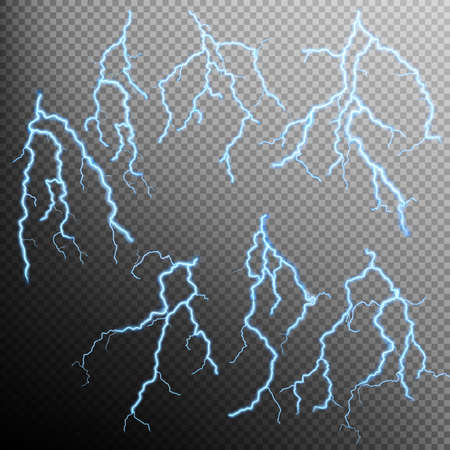Set of Blue lightning flash effect on transparent background. EPS 10 vector file included