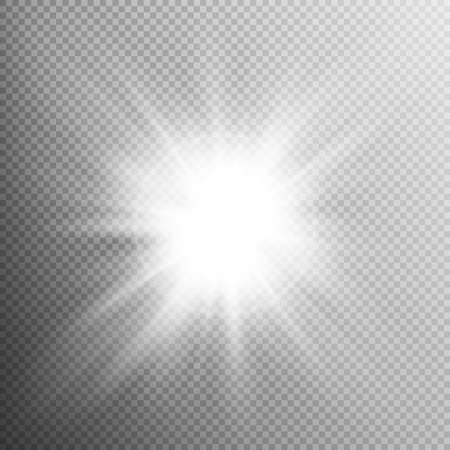White glowing light burst explosion with transparent. Cool effect decoration with ray sparkles. Transparent shine gradient glitter, bright flare. Glare texture. EPS 10 vector file included
