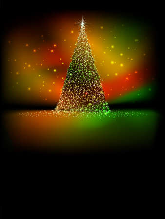 greeting christmas: Abstract golden christmas tree on red background. EPS 10 vector file included