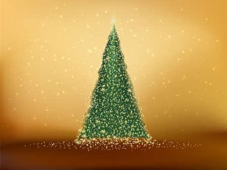gold christmas background: Abstract green christmas tree on gold background. EPS 10 vector file included
