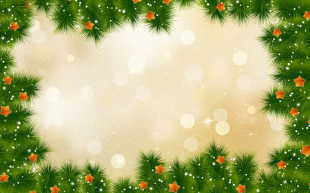 desember: Christmas retro background with tree branches. EPS 10 vector file included