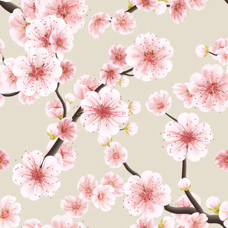 Seamless background pattern of pink Sakura blossom or Japanese flowering cherry symbolic of Spring in a random arrangement square format suitable for textile. Illustration