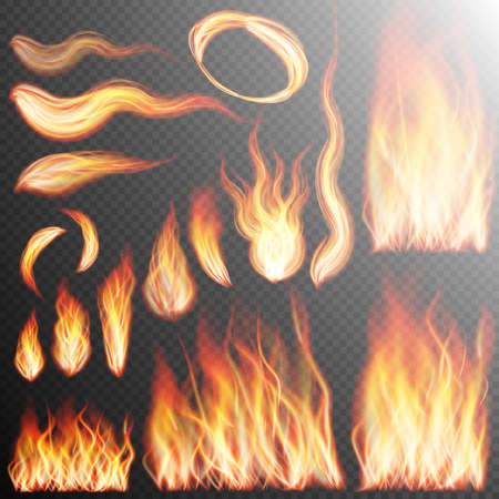 fire flame: Fire flame strokes realistic isolated on transparent background. EPS 10 vector file included